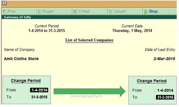 create new financial year in active company of Tally ERP-1