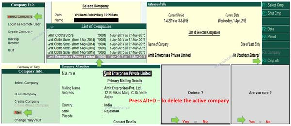 How to delete company in Tally-ERP 9