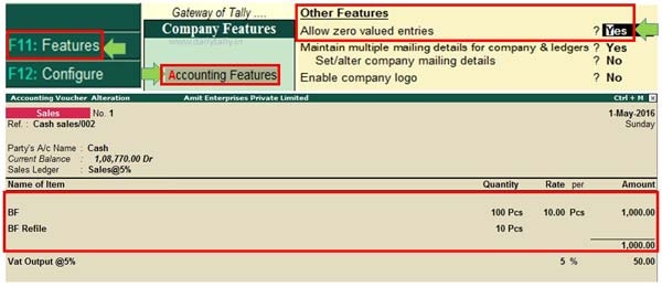 How to use allow zero value entry in Tally ERP