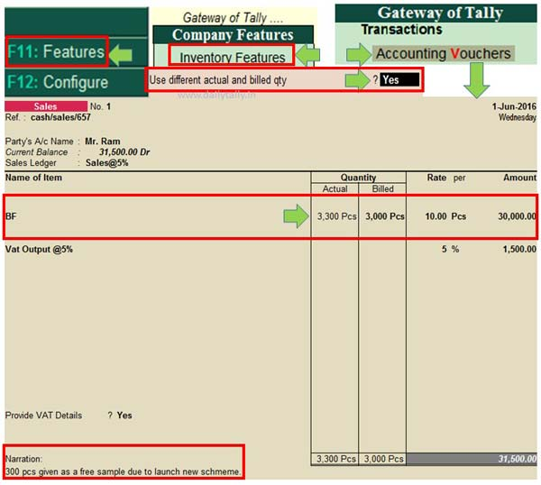 How to use different actual and billed quantity in Tally ERP
