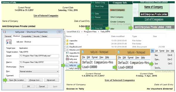 Latest trick to change default company to load itself in Tally ERP 9