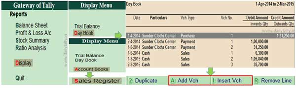 How to Add or Insert the voucher in Tally ERP