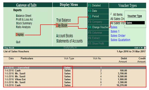 How to View and Print Voucher wise Reports in Day Book of Tally ERP 9